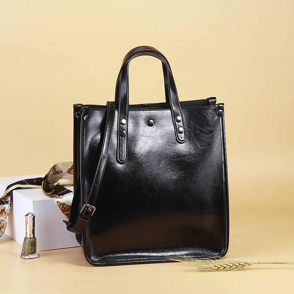 Zency Женская Повседневная Сумка-тоут из 100% натуральной кожи коричневая сумка ретро сумка-мессенджер для леди кофейная сумка через плечо