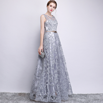 New 2019 Evening Dress Elegant Banquet Champagne Lace Sleeveless Floor-length Long Party Formal Gown plus size Robe De Soiree 3