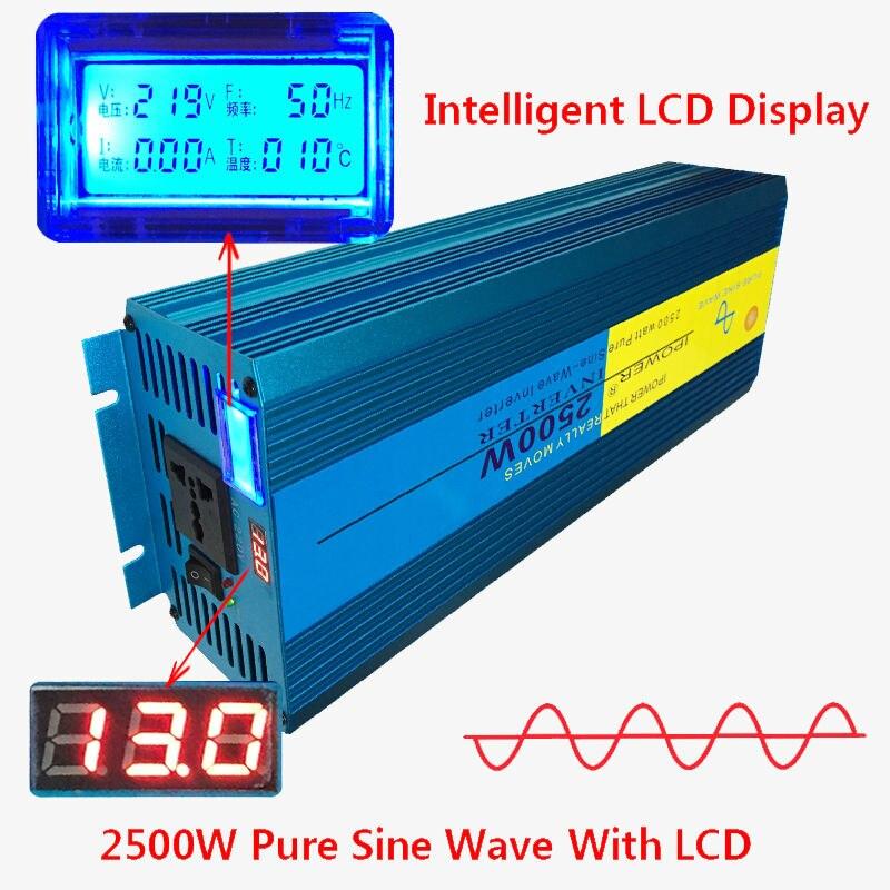 Digital Display 2500W 5000W Peak Pure Sine Wave Power Inverter DC 12V to AC 220V 230V 240V Converter Supply Solar Power peak power 5000w inverter 2500w pure sine wave digital display inverter 12v 24v dc to 110v 220v ac for solar