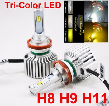 1 Set H8 H9 H11 60W 8000LM Tri-Color LED Headlight CSP Chips Golden Yellow White 3K 4.3K 6K Driving Fog Rainy Snowy Lamps Bulbs