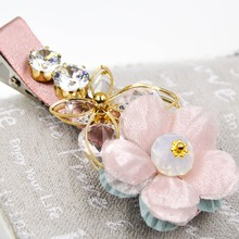 2.5 inches Well-made Alligator hair clip silk flowers and rhinestones accessories duck clip for women and girls