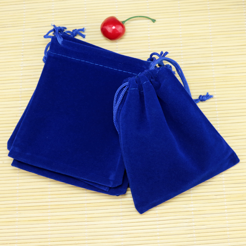 100Pcs/lot Royal Blue Velvet Bag 7x9cm Small Earrings Jewelry Packaging Bags Christmas Wedding Drawstring Velvet Pouch Gift Bag
