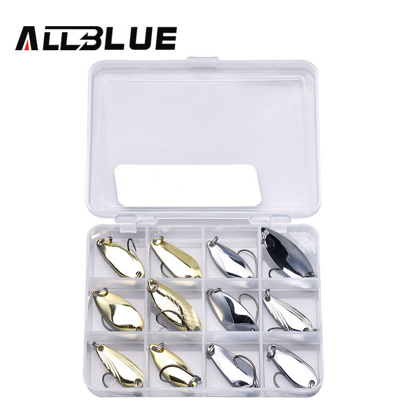 ALLBLUE New Copper Spoon Bait Metal Lure Kit 2.8g-4.2g Hard Bait Fresh Water Trout Bass Fishing Lures isca artificial leurre metal jig lures 10g 15g 20g 25g spoon bait fishing angeln isca artificial hard lure bass carp fishing tackles free ship