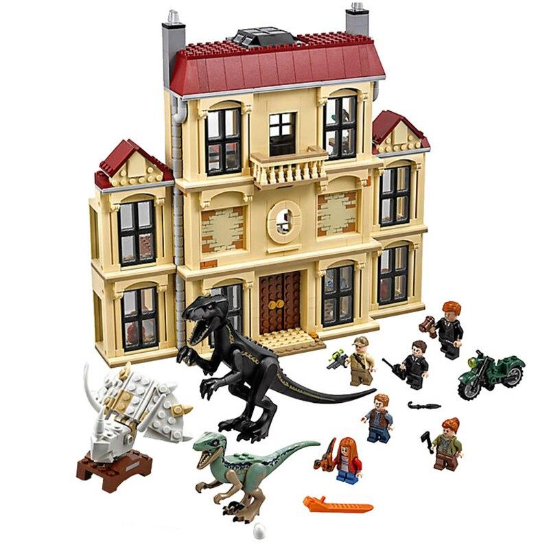 Mundo Jurásico 2 Legoing 75930, 1046 unids dinosaurio Indoraptor alboroto en estado Lockwood juguetes de bloques de construcción para niños 10928
