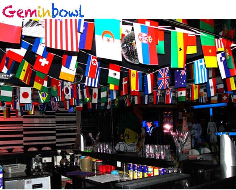 Geminbowl 25-65 M 100-200 stücke verschiedenen Ländern String Flagge Internationalen Welt Banner Bunting bar home party dekoration
