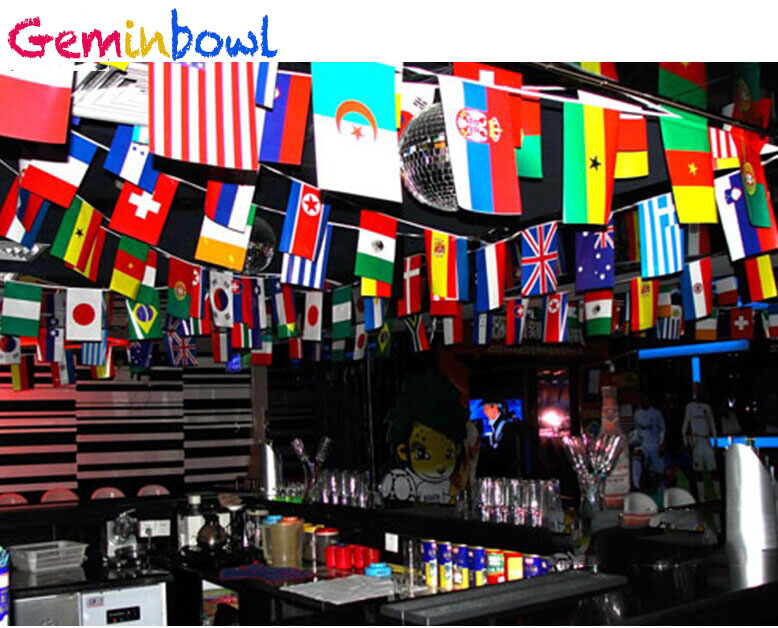 Geminbowl 25-65M 100-200 st olika länder String Flag International World Banner Bunting bar hem party dekoration