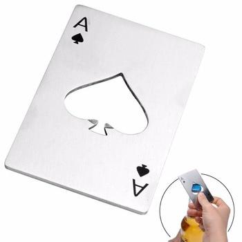 Abrebotellas en forma de póker de acero inoxidable, tamaño de tarjeta de...