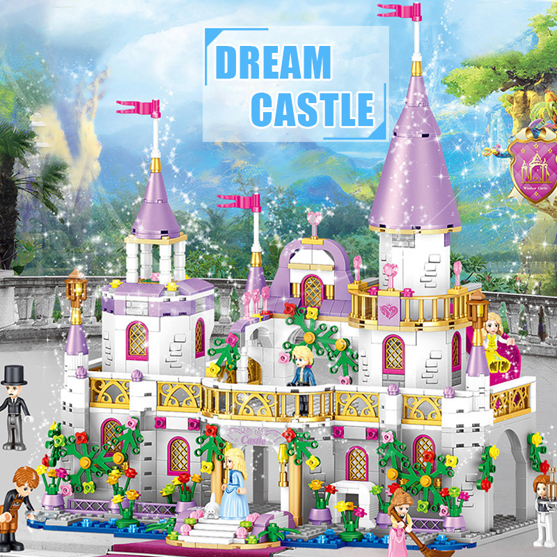 Compatible all barnd Friends the Cinderellas Romantic Royal Castle Palace Building Blocks Snow White Bricks Children Girl Toys