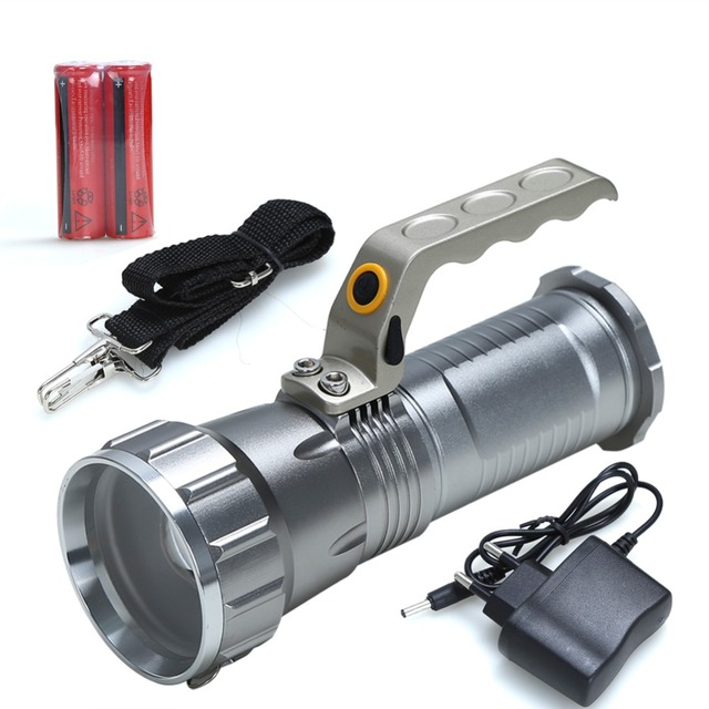 Searchlight Flashlight Cree T6 Led Rechargeable Torch camping light miners lamp spelunking Underground work+18650 Battery+Charge