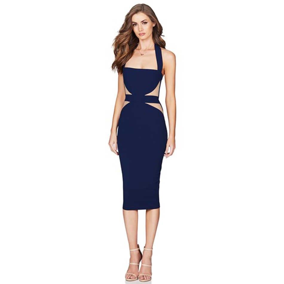 Seamyla 2019 Новое Женское Бандажное платье сексуальное, с ремешком вокруг шеи Сетчатое летнее Клубное платье Vestidos элегантное платье знаменитостей для вечеринок Подиум