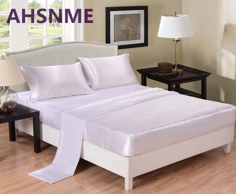 AHSNME 3 / 4PCS Černý šedý bílý hedvábný povlečení Ložní prádlo Luxusní ložní prádlo King Queen Full (Postel matrace + povlak na polštář + prostěradla)