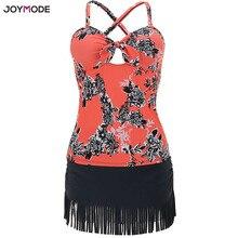 Купить с кэшбэком JOYMODE 2018 New Design sexy Swimwear Women Bandage Swimsuit with skirt Push Up  bathing floral printed suit Swimming Suits