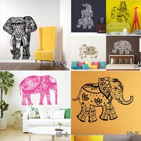 Aiwall Indian Hinduism Wall Sticker Home Deco Vinyl Wall Decal Elephant Buddhism India Indian Buddha Om