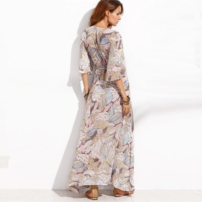 COLROVIE Floral Print Maxi Chiffon Dress Women V Neck Half Sleeve Wrap A Line Beach Sexy Dress 2018 Summer Beach Boho Long Dress 8