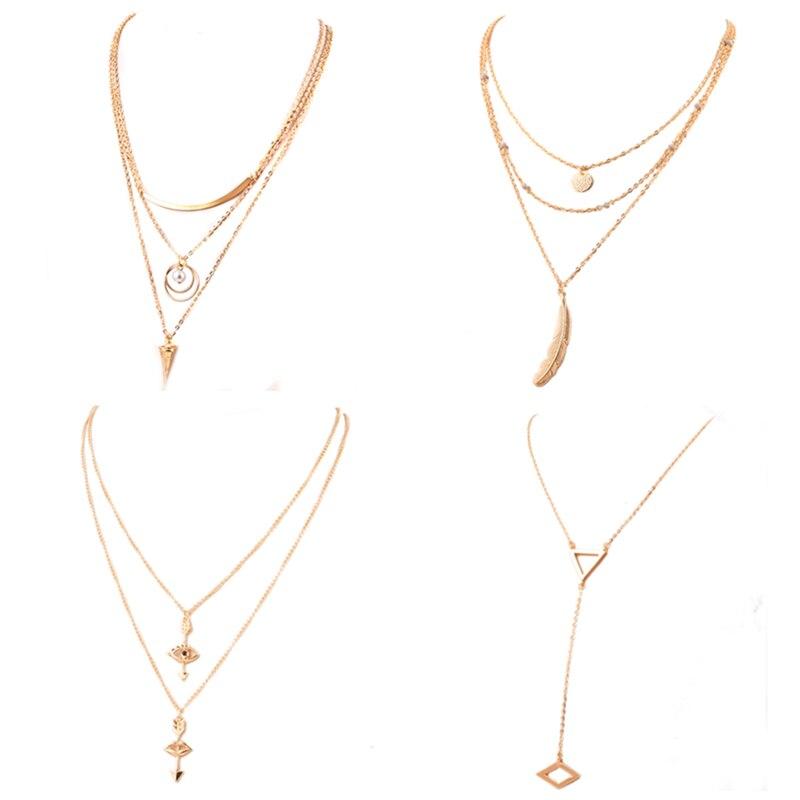 Female fashion long pendant necklace Women jewelry Multi ...