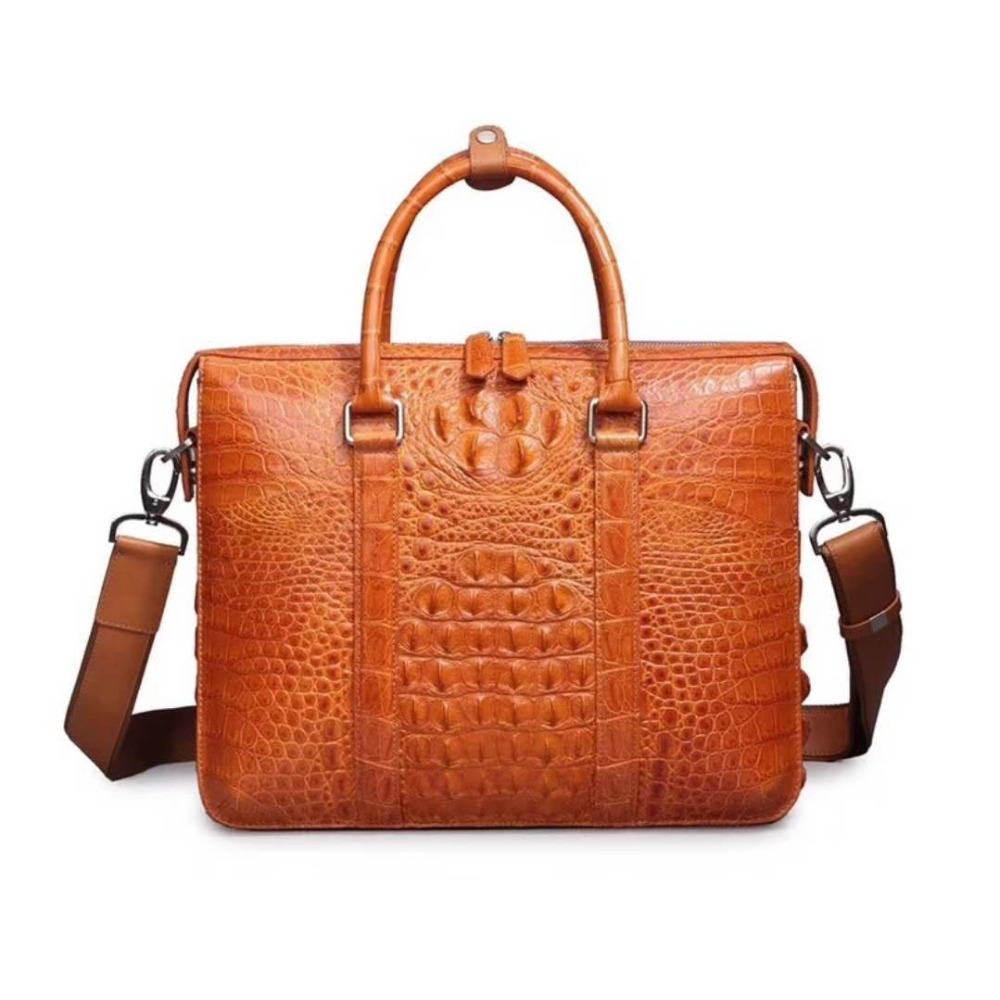 2018 New Men's Genuine/Real 100% Crocodile Leather Head Skin Men Business Bag Official Briefcase Bag Light Brown Orange Free