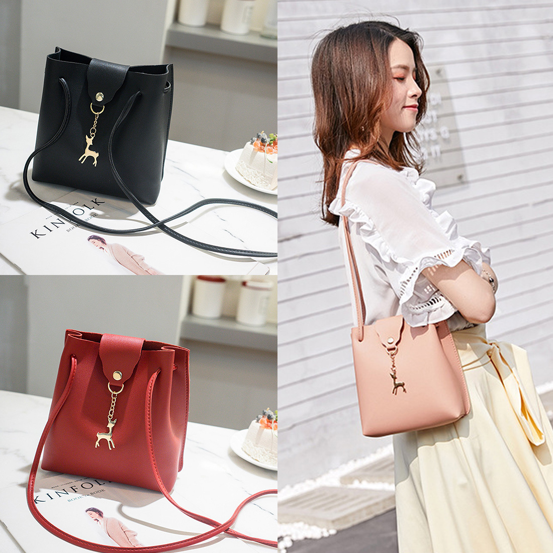 Fawn Bag female 2019 new tassel leather retro hand rub color vegetable tanned leather diagonal shoulder bagFawn Bag female 2019 new tassel leather retro hand rub color vegetable tanned leather diagonal shoulder bag