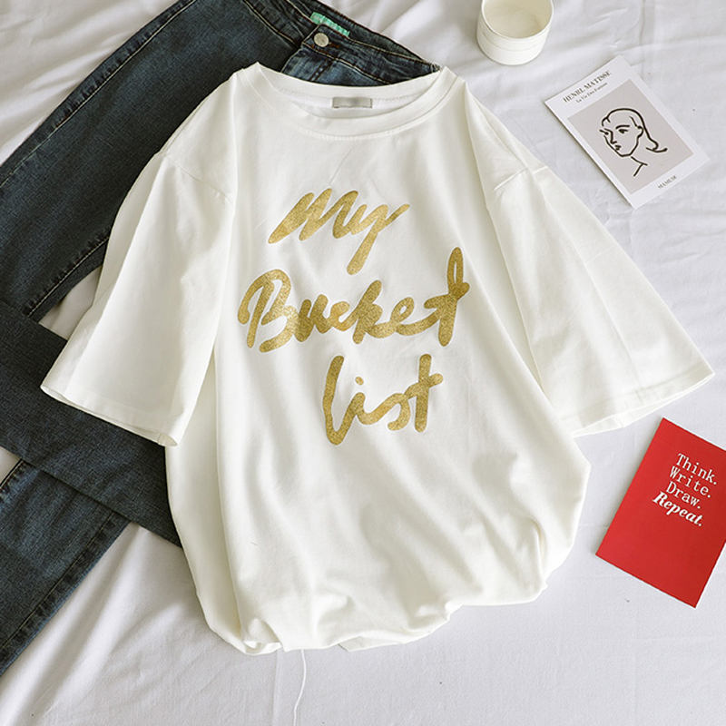 New Gold Letter Printed Tees O-Neck Loose Female 3