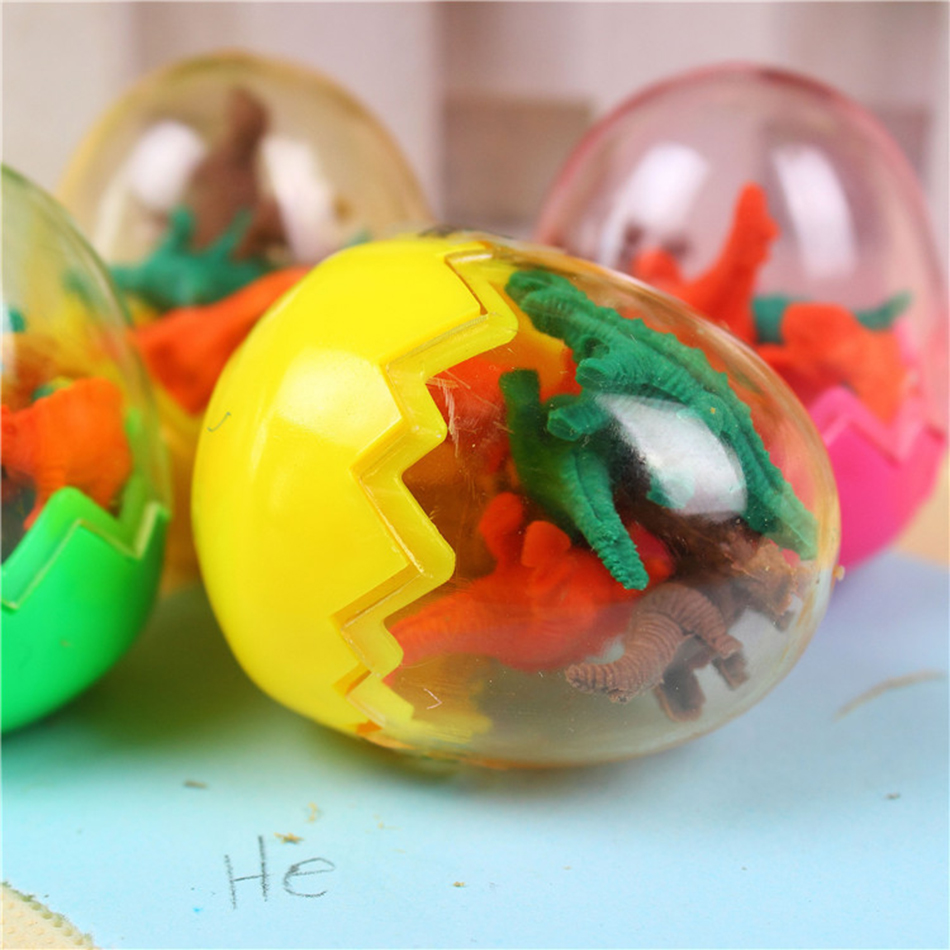 1Pcs New Cartoon Dinosaur Egg Shaped Colorful Novelty Pencil Eraser Rubber Primary School Student Prizes Gift Stationery E2005