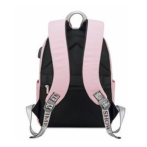 Image 4 - 受賞新ソリッドカラー印刷usb充電バックパック女性抗盗難旅行bagpackノートパソコンスクールバックパック十代の少女