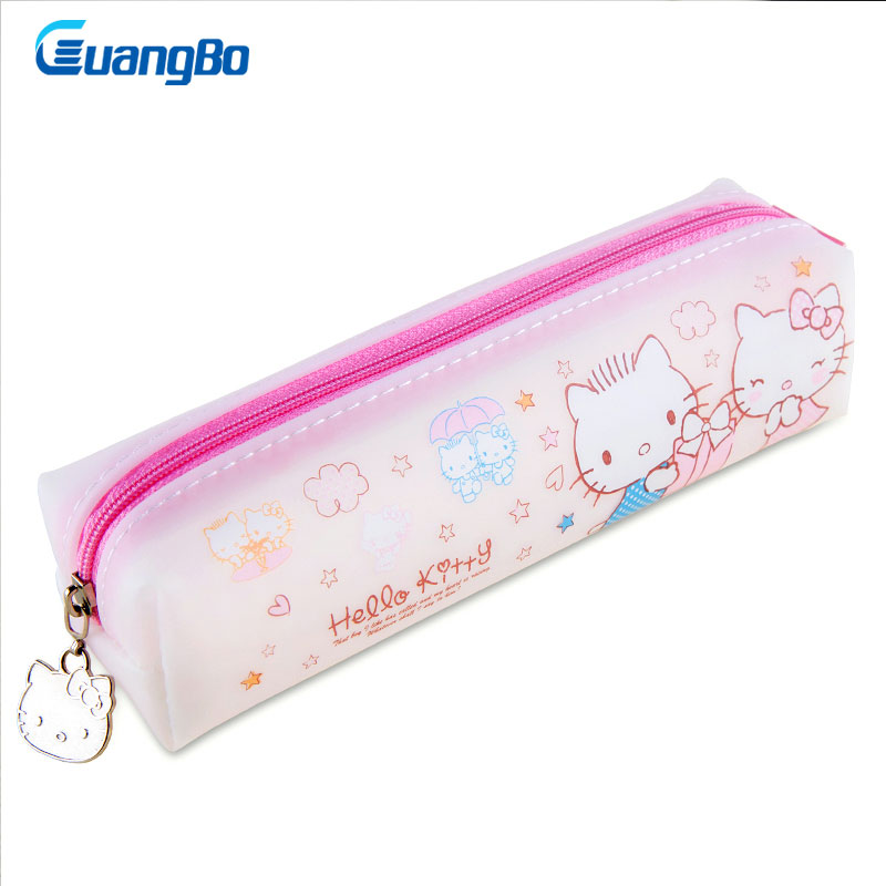 GUANGBO Hello Kitty series pencil bag Big zipper school pencil case Stationery Storage bag pencilcase Student Office supplies