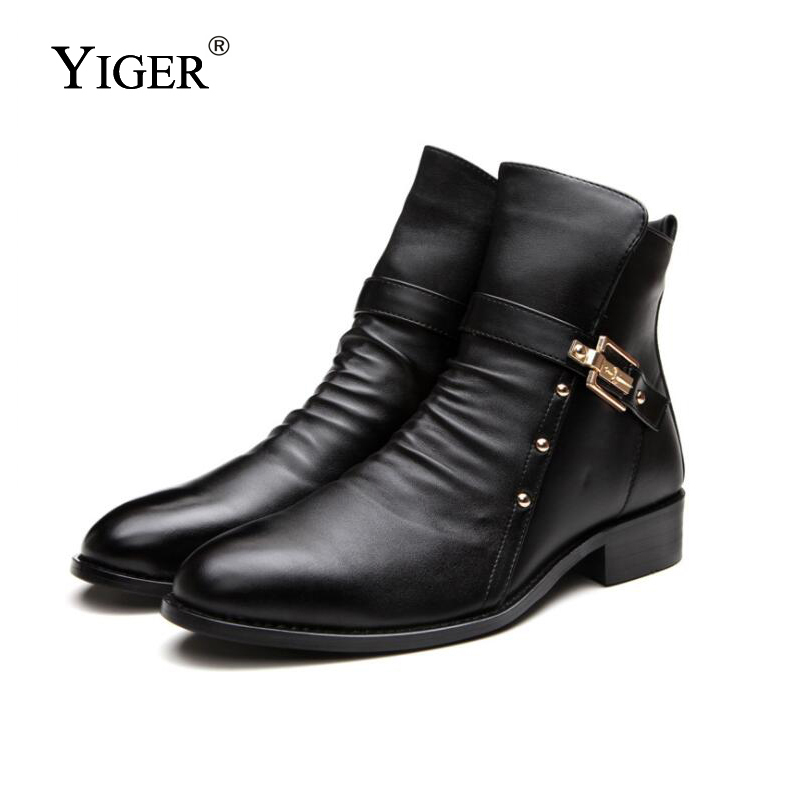 YIGER New Men's Ankle Boots Ekte Leather Martin Støvler Man Korte - Herresko