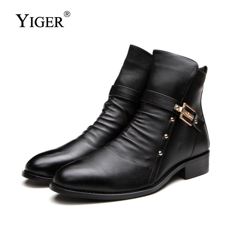 YIGER Yeni erkek Ayak Bileği Çizmeler Hakiki Deri Martin Çizmeler - Erkek Ayakkabıları