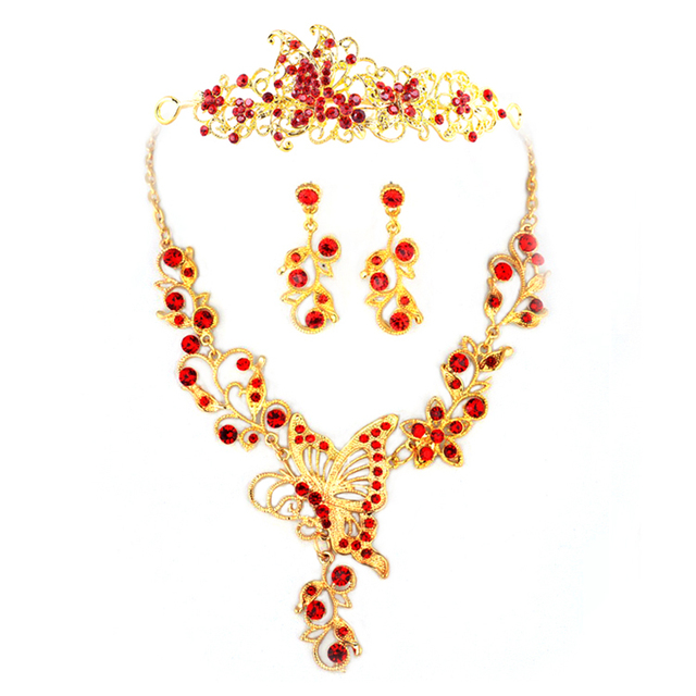 red and gold beautiful butterfly bridal wedding jewelry sets