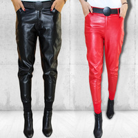 fashion PU Leather Pants Women Autumn Elastic Waist Skinny Ankle Length Harem Pants Slim Faux Leather Trousers For Female