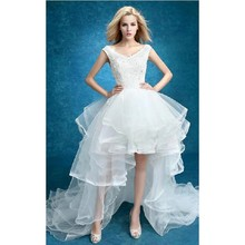 White Organza Hi Low Wedding Dresses Lace Appliques Up Back Front Short Long Gowns robe de mariee