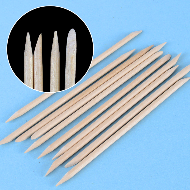 10pcs/packs 11.3cm Orange Wood Stick Cuticle Pusher Remover Nail Designs Nail Art Stick Wooden Manicure Tools
