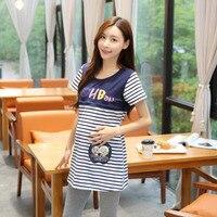 T-shirt für Schwangere Frauen Pflege Top Kleidung für Stillende Mütter Stillen Kleidung Mutterschaft Gestreiften Kurzarm Top