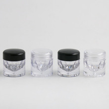 30 X 5g Clear Plastic AS Powder Small Sample Jar Powder Case with 1 3 12 Holes Clear Black Cap Cosmetic Travel Empty Powder Jar
