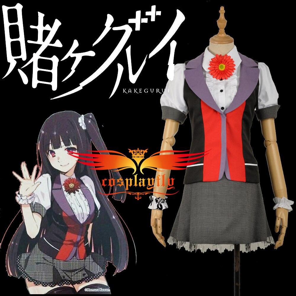 W1202 Kakegurui: Compulsive Gambler Jabami Yumeko Adult Vest Shirt Skirt Clothing School Idol Uniform Cosplay Costume