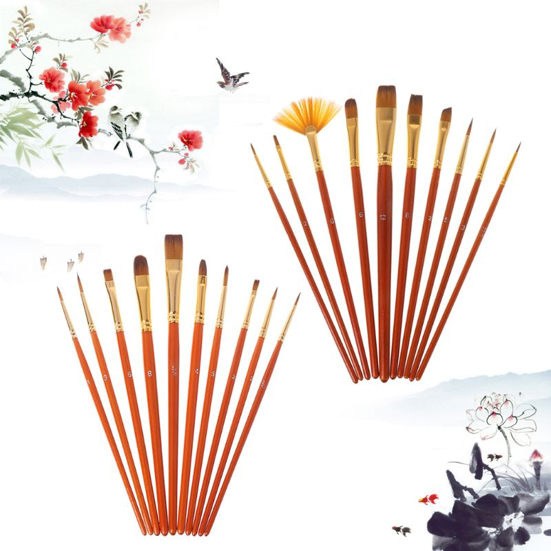 20Pcs Artist Paint Brush Set Nylon Hair Watercolor Acrylic Oil Painting Drawing Supplies