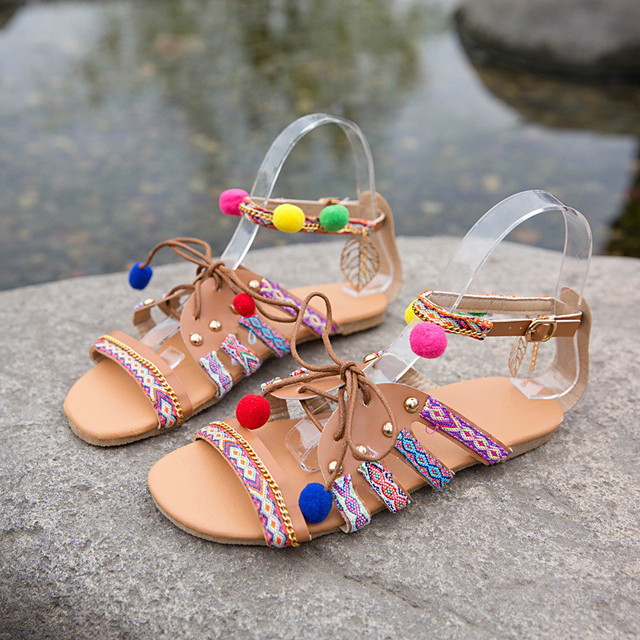 Verano Moda Étnica Sandalias Pompón Gladiador Venta Mujer Bohemia 3Ljq4Rc5A