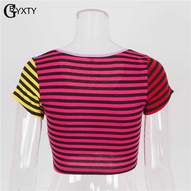 GBYXTY Для женщин Летняя футболка короткий рукав в радужную полоску с сердечками на молнии, укороченная женская футболка для фитнеса Укороченная рубашка ZA684