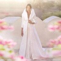 2016 Klasik Uzun Kollu Kat Uzunluk Düğün Ceket Yüksek Kalite Custom Made Beyaz Saten Kış Düğün Ceket Gelin Sarar Şal