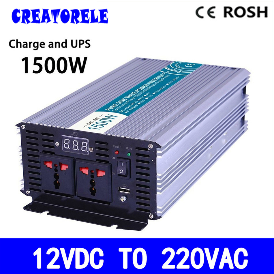 P1500-122-C 1500w  powerr inverter 12v 220v  pure sine wave solar inverter voltage converter with charger and meziere wp101b sbc billet elec w p