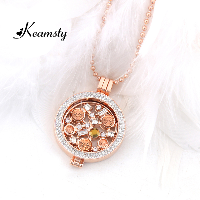 Aliexpress kup keamsty rose gold libre coin peach crystal keamsty rose gold libre coin peach crystal coin pendant necklace set include ball chain and my aloadofball Choice Image