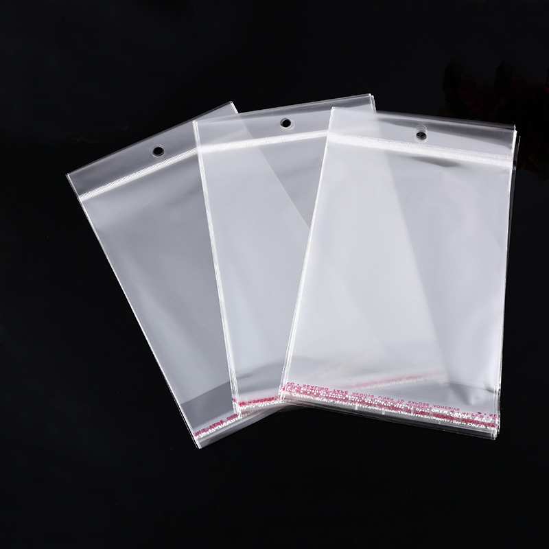 100pcs 4 Sizes Transparent Hanging Self Adhesive Opp Plastic Pouch Sachet Gift Bag For Jewelry Wedding Party Beads Packing