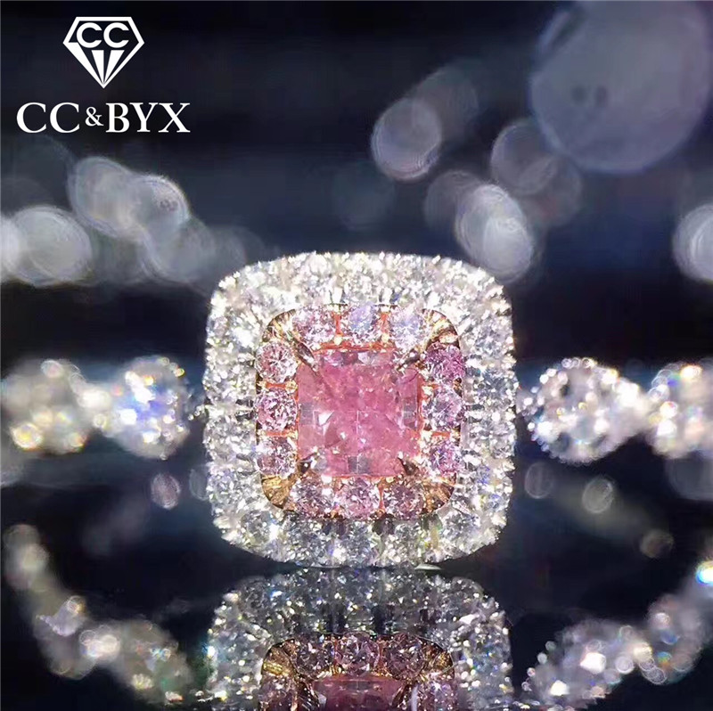 CC Charms 925 Sterling Silver Rings For Women Pink Square Bridal Wedding Jewelry Bijoux Femme Engagement Accessories CC705(China)