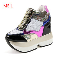 2018 Gold Silver Women Sneakers Casual High Quality Wedge Heels Female Bling Shoes Increase Height 13cm Platform Vulcanize Shoes