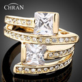 Chran New Wholesale Yellow Gold Plated Cubic Zirconia Unisex Wedding Rings For Men and Women New Jewelry  bijouterie Russia