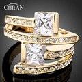 Chran Novo Atacado Amarelo Banhado A Ouro Cubic Zirconia Anéis De Casamento Para Homens e Mulheres Unisex New Jewelry bijutaria Rússia