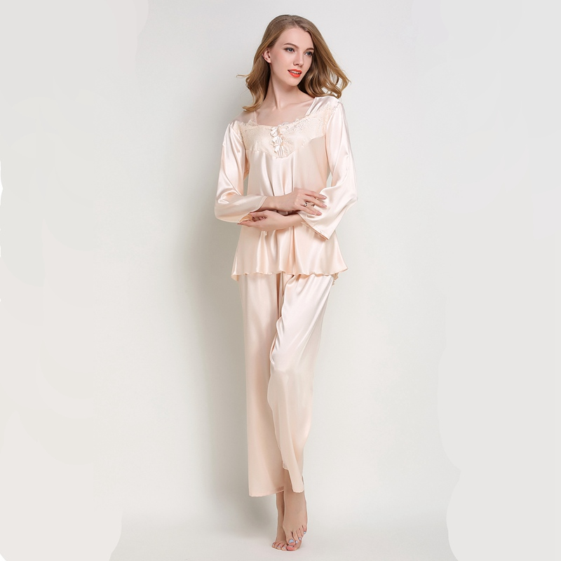 Women   pajamas   suit Silk Sleepwear Satin   Pajamas     Set   Woman   Pajamas   Pants Silk Nightwear pink pj   set   autumn