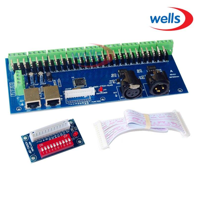 LED DMX512 27CH met RJ45 decoder controller, constante spanning gemeenschappelijke anode voor RGB controller led dmx512 decoder voor led lamp rgb groothandel dmx 3ch rgb controller high power constante stroom 700ma