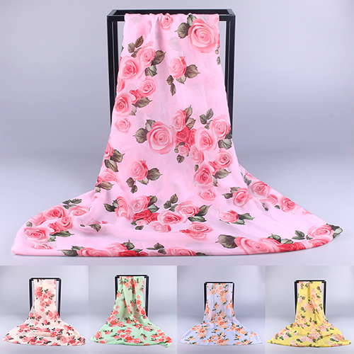 Women Fashion Rose Flower Print Soft Porcelain Beach   Wraps   Shawl Long   Scarf   New Arrival