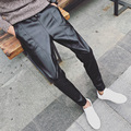 M ~ 2XL! novo 2016 homens roupas de veludo espessamento motocicleta calças de couro calças de couro fino calças skinny cantor trajes