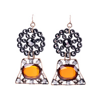 Famous Brand Jewelry Valentine Day Ladies High Designer Fashion Retro Black Hollow Flower Drop Earrings